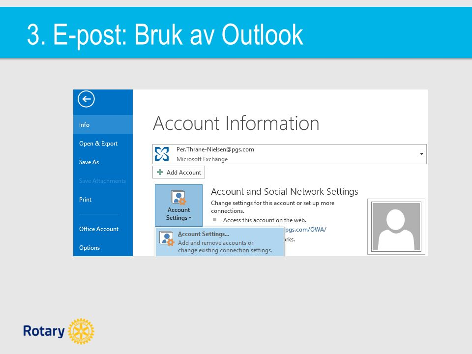 3. E-post: Bruk av Outlook