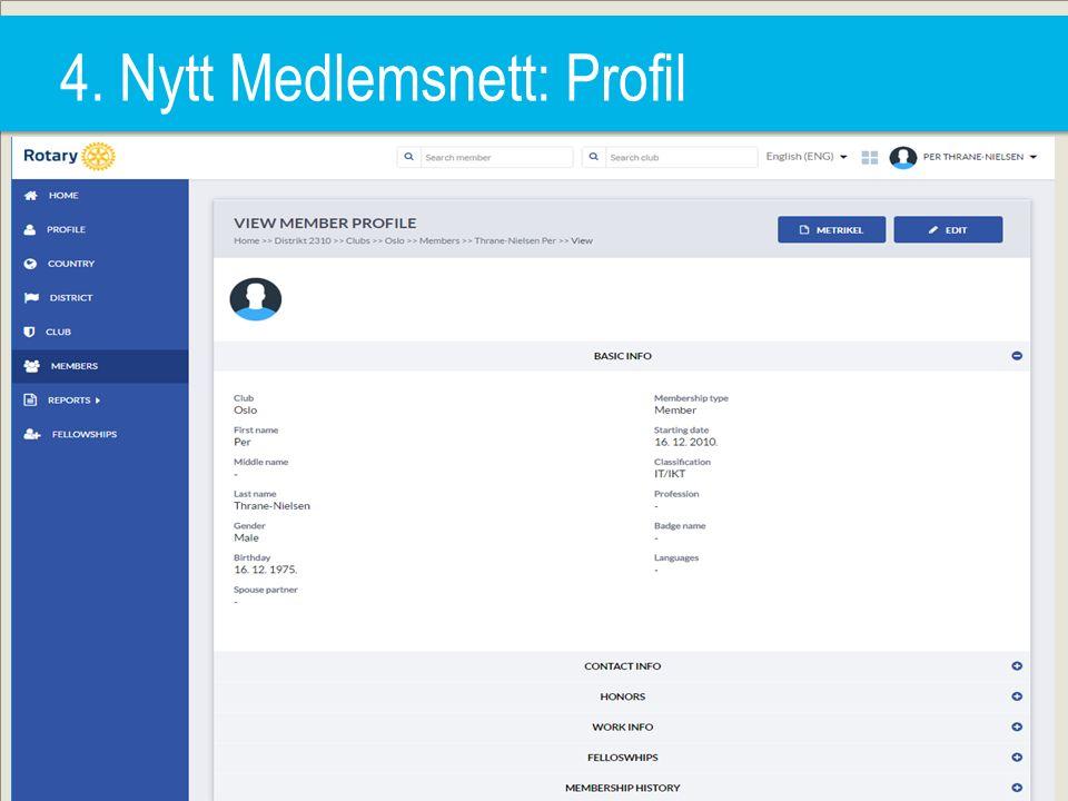 4. Nytt Medlemsnett: Profil