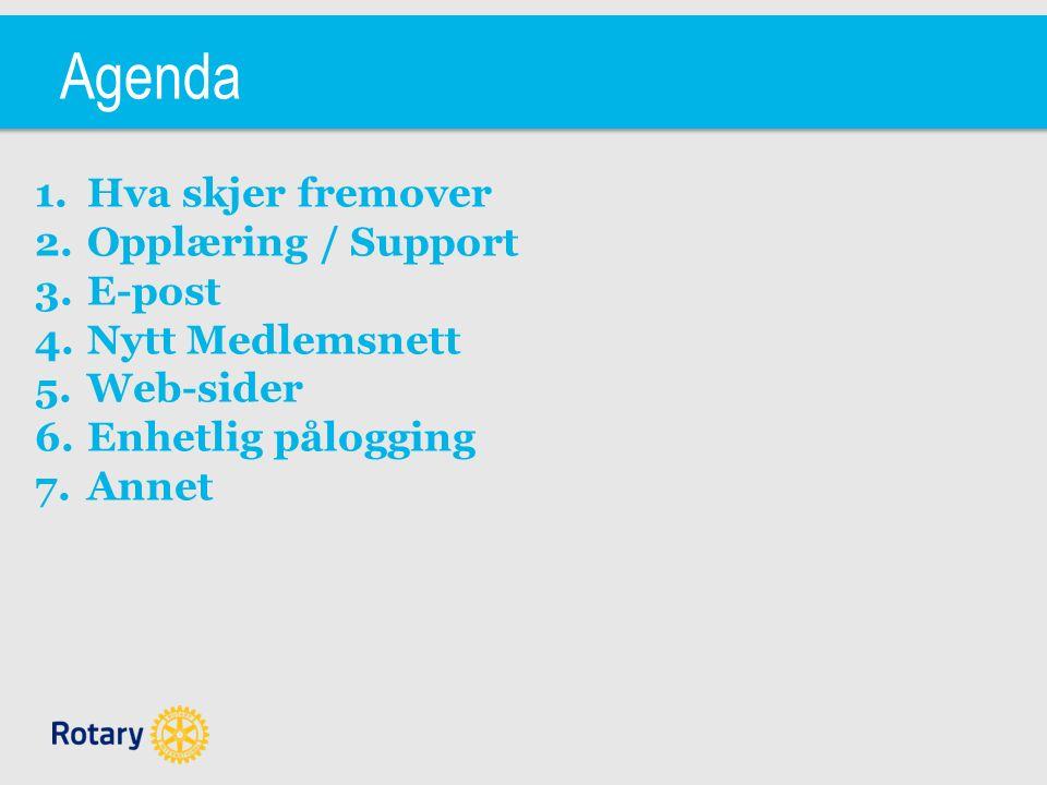Agenda 1.Hva skjer fremover 2.Opplæring / Support 3.E-post 4.Nytt Medlemsnett 5.Web-sider 6.Enhetlig pålogging 7.Annet