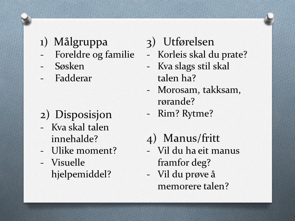 1) Målgruppa -Foreldre og familie -Søsken -Fadderar 2)Disposisjon -Kva skal talen innehalde? -Ulike moment? -Visuelle hjelpemiddel? 3)Utførelsen -Korl