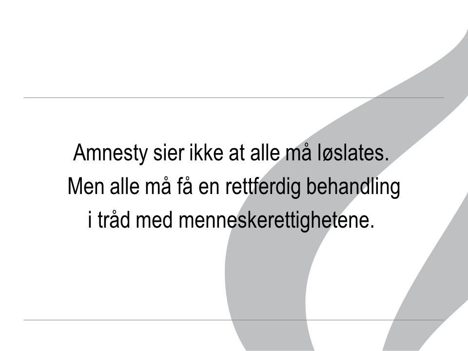 Amnesty sier ikke at alle må løslates. Men alle må få en rettferdig behandling i tråd med menneskerettighetene.