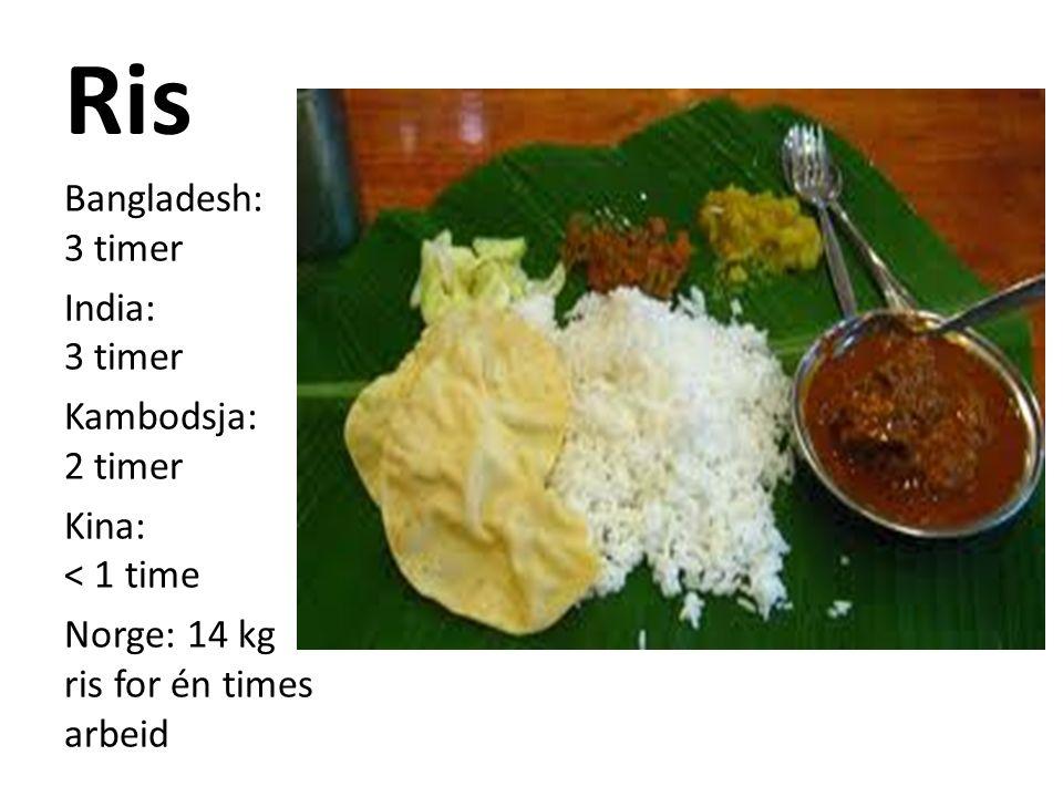 Ris Bangladesh: 3 timer India: 3 timer Kambodsja: 2 timer Kina: < 1 time Norge: 14 kg ris for én times arbeid
