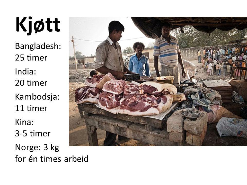 Kjøtt Bangladesh: 25 timer India: 20 timer Kambodsja: 11 timer Kina: 3-5 timer Norge: 3 kg for én times arbeid