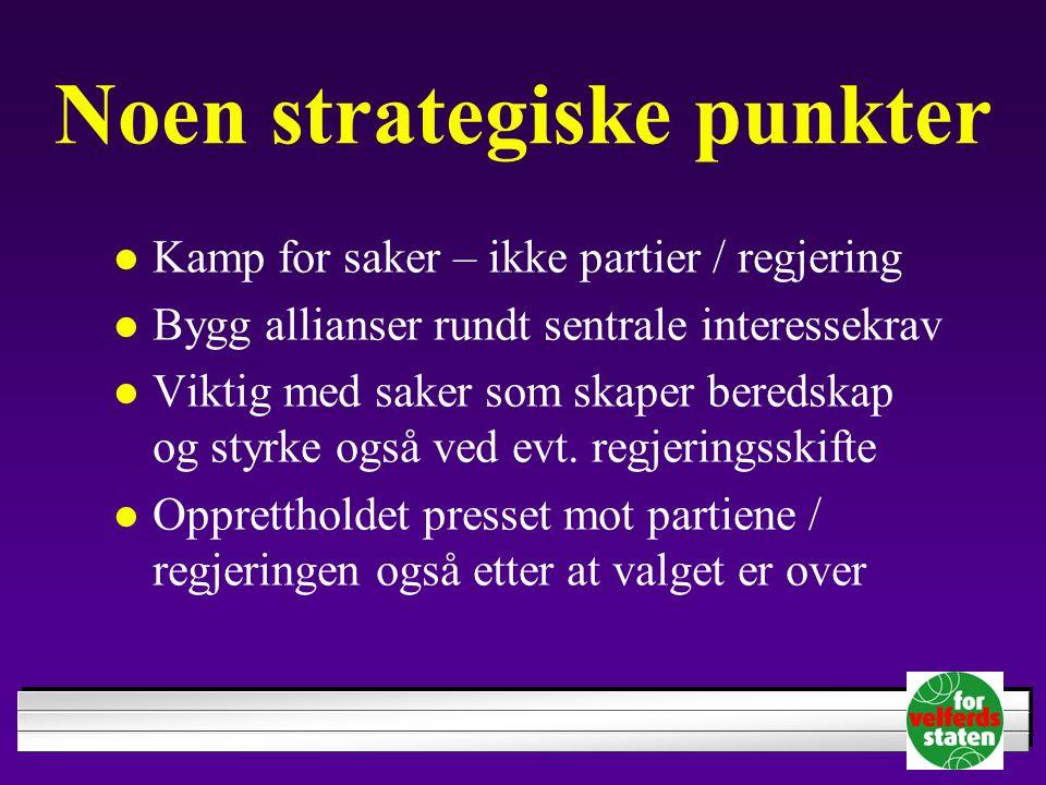Noen strategiske punkter Kamp for saker – ikke partier / regjering Bygg allianser rundt sentrale interessekrav Viktig med saker som skaper beredskap og styrke også ved evt.