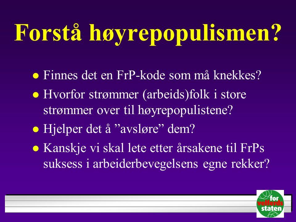 Forstå høyrepopulismen. Finnes det en FrP-kode som må knekkes.