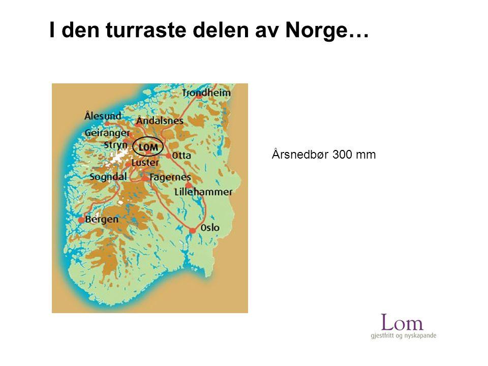 I den turraste delen av Norge… Årsnedbør 300 mm