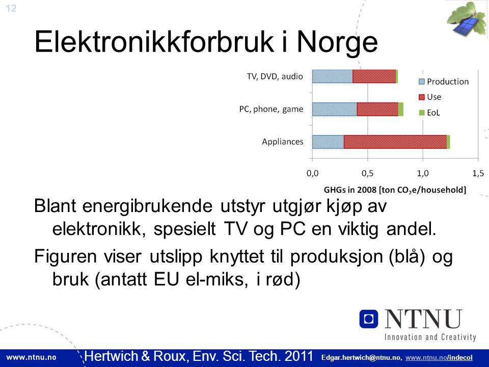 12 Edgar.hertwich@ntnu.no, www.ntnu.no/indecol Elektronikkforbruk i Norge Blant energibrukende utstyr utgjør kjøp av elektronikk, spesielt TV og PC en