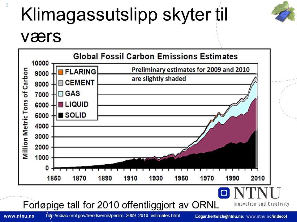3 Edgar.hertwich@ntnu.no, www.ntnu.no/indecol Klimagassutslipp skyter til værs Forløpige tall for 2010 offentliggjort av ORNL http://cdiac.ornl.gov/tr