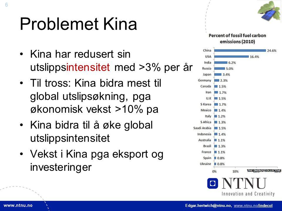 6 Edgar.hertwich@ntnu.no, www.ntnu.no/indecol Problemet Kina Kina har redusert sin utslippsintensitet med >3% per år Til tross: Kina bidra mest til gl