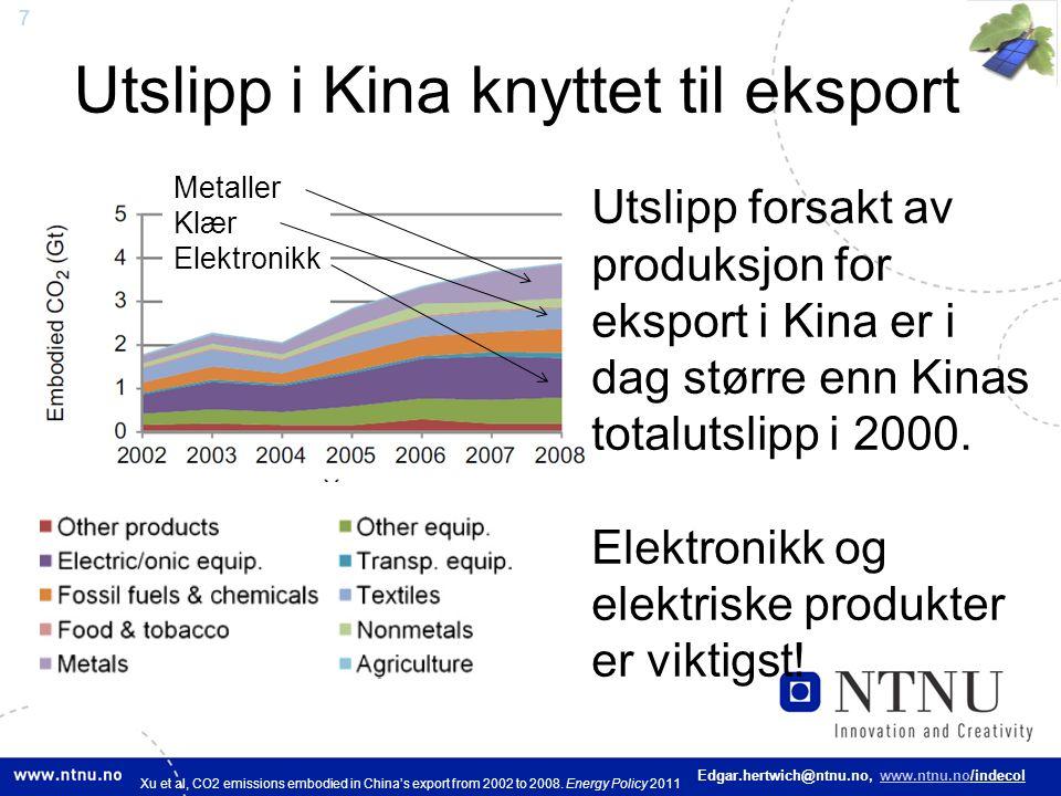 7 Edgar.hertwich@ntnu.no, www.ntnu.no/indecol Utslipp i Kina knyttet til eksport Utslipp forsakt av produksjon for eksport i Kina er i dag større enn
