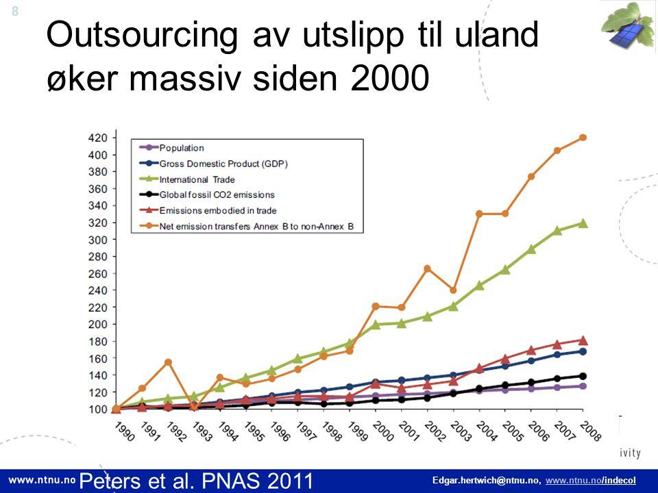 8 Edgar.hertwich@ntnu.no, www.ntnu.no/indecol Outsourcing av utslipp til uland øker massiv siden 2000 Peters et al. PNAS 2011