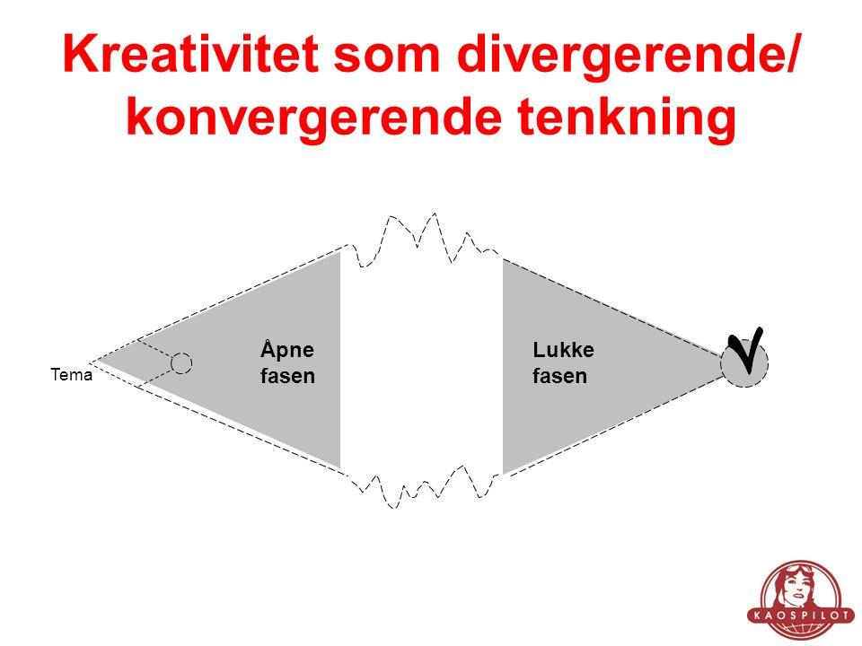 Kreativitet som divergerende/ konvergerende tenkning Åpne fasen Lukke fasen Tema
