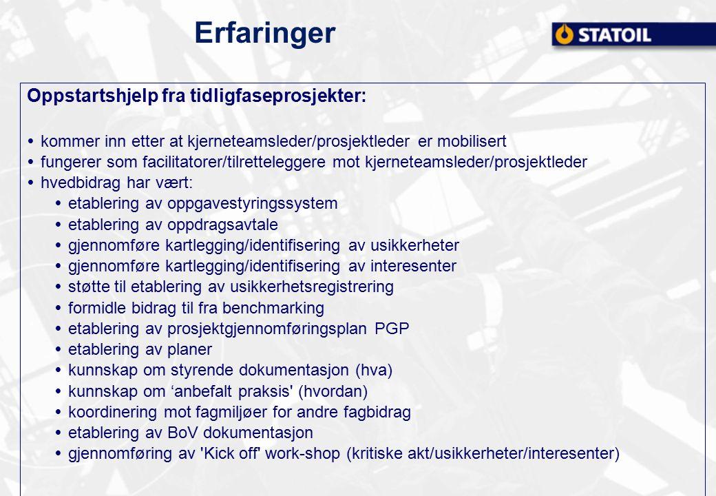 Erfaringer Oppstartshjelp fra tidligfaseprosjekter:  kommer inn etter at kjerneteamsleder/prosjektleder er mobilisert  fungerer som facilitatorer/ti