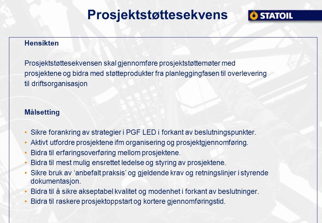 Prosjektstøttesekvens Hensikten Prosjektstøttesekvensen skal gjennomføre prosjektstøttemøter med prosjektene og bidra med støtteprodukter fra planlegg