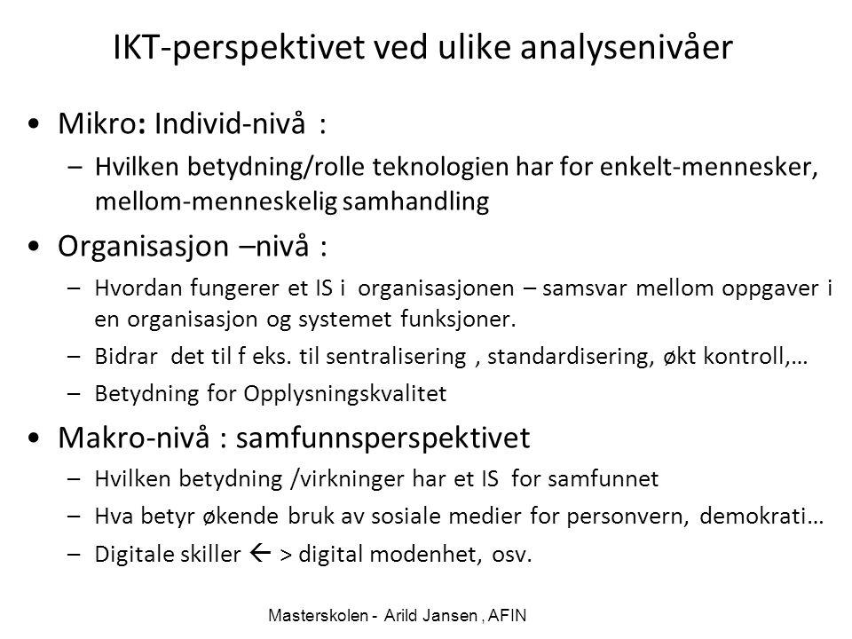 IKT-perspektivet ved ulike analysenivåer Mikro: Individ-nivå : –Hvilken betydning/rolle teknologien har for enkelt-mennesker, mellom-menneskelig samha