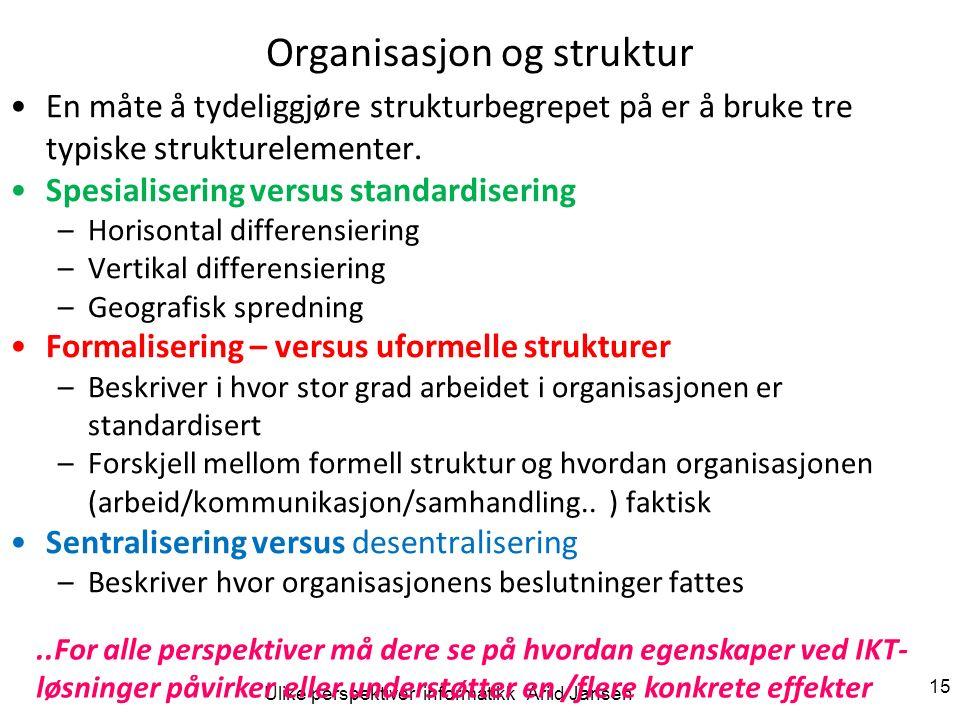 Ulike perspektiver informatikk Arild Jansen 15 Organisasjon og struktur En måte å tydeliggjøre strukturbegrepet på er å bruke tre typiske strukturelem