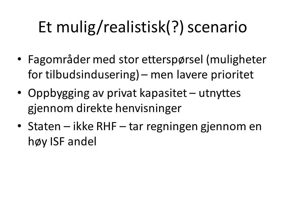 Et mulig/realistisk(?) scenario Fagområder med stor etterspørsel (muligheter for tilbudsindusering) – men lavere prioritet Oppbygging av privat kapasitet – utnyttes gjennom direkte henvisninger Staten – ikke RHF – tar regningen gjennom en høy ISF andel