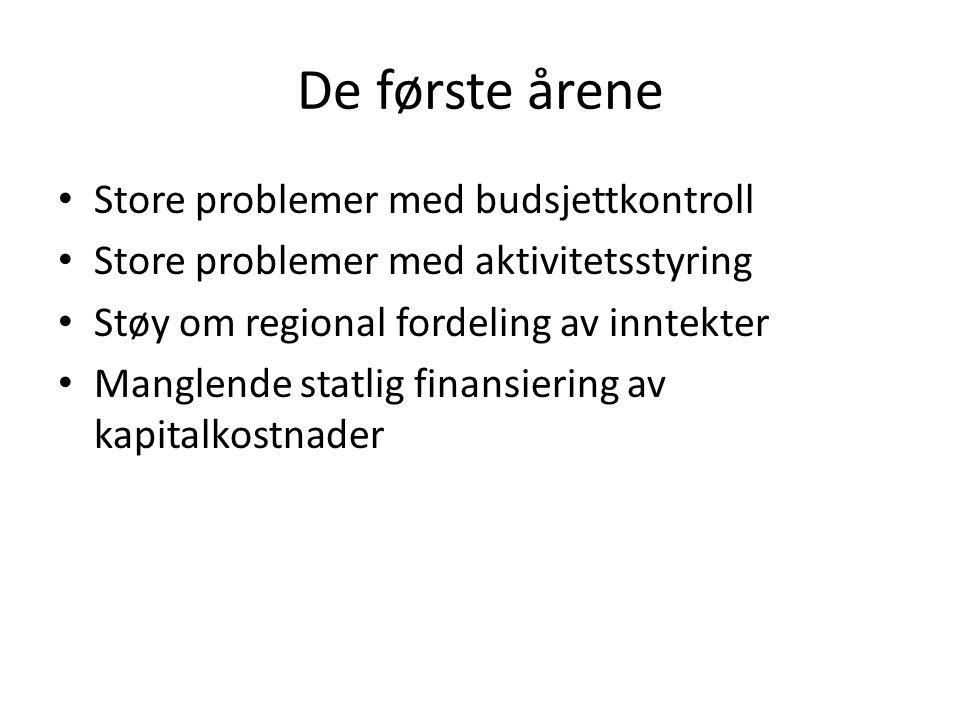 De første årene Store problemer med budsjettkontroll Store problemer med aktivitetsstyring Støy om regional fordeling av inntekter Manglende statlig finansiering av kapitalkostnader