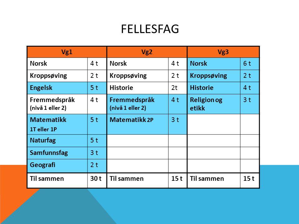 FELLESFAG Vg1Vg2Vg3 Norsk4 tNorsk4 tNorsk6 t Kroppsøving2 tKroppsøving2 tKroppsøving2 t Engelsk5 tHistorie2tHistorie4 t Fremmedspråk (nivå 1 eller 2) 4 tFremmedspråk (nivå 1 eller 2) 4 tReligion og etikk 3 t Matematikk 1T eller 1P 5 tMatematikk 2P 3 t Naturfag5 t Samfunnsfag3 t Geografi2 t Til sammen30 tTil sammen15 tTil sammen15 t