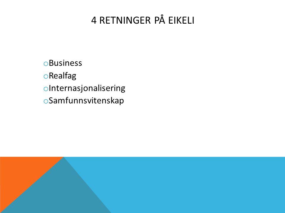 4 RETNINGER PÅ EIKELI o Business o Realfag o Internasjonalisering o Samfunnsvitenskap