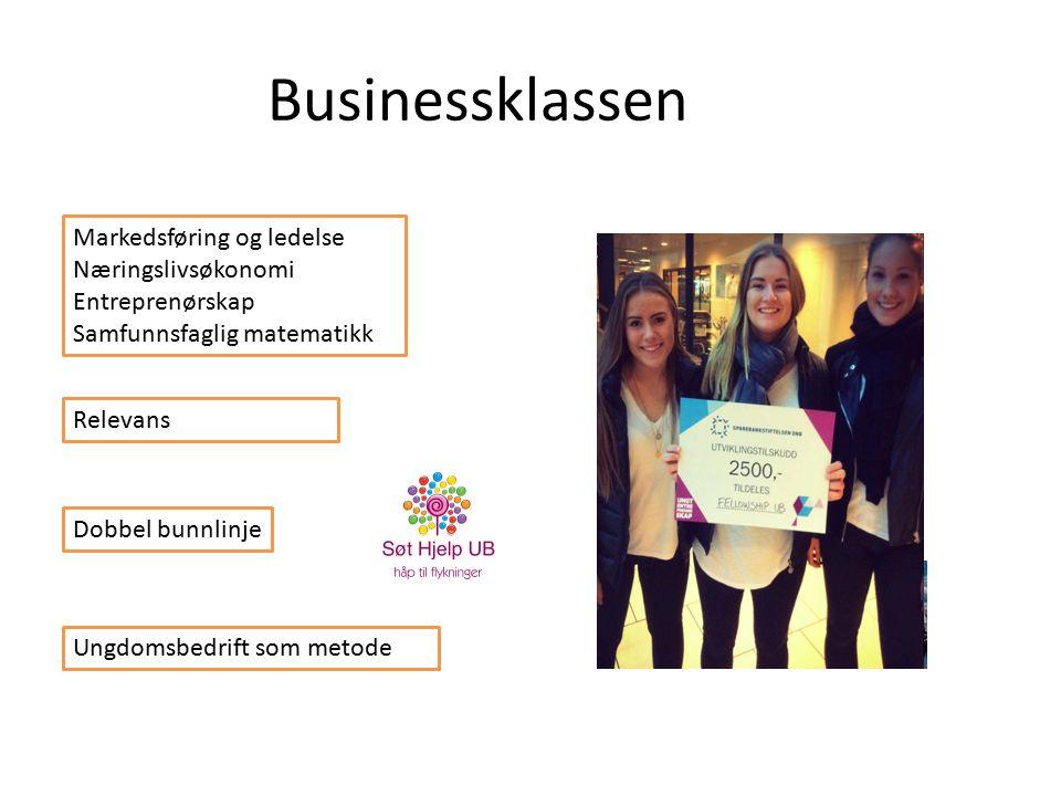 Businessklassen Markedsføring og ledelse Næringslivsøkonomi Entreprenørskap Samfunnsfaglig matematikk Ungdomsbedrift som metode Relevans Dobbel bunnlinje