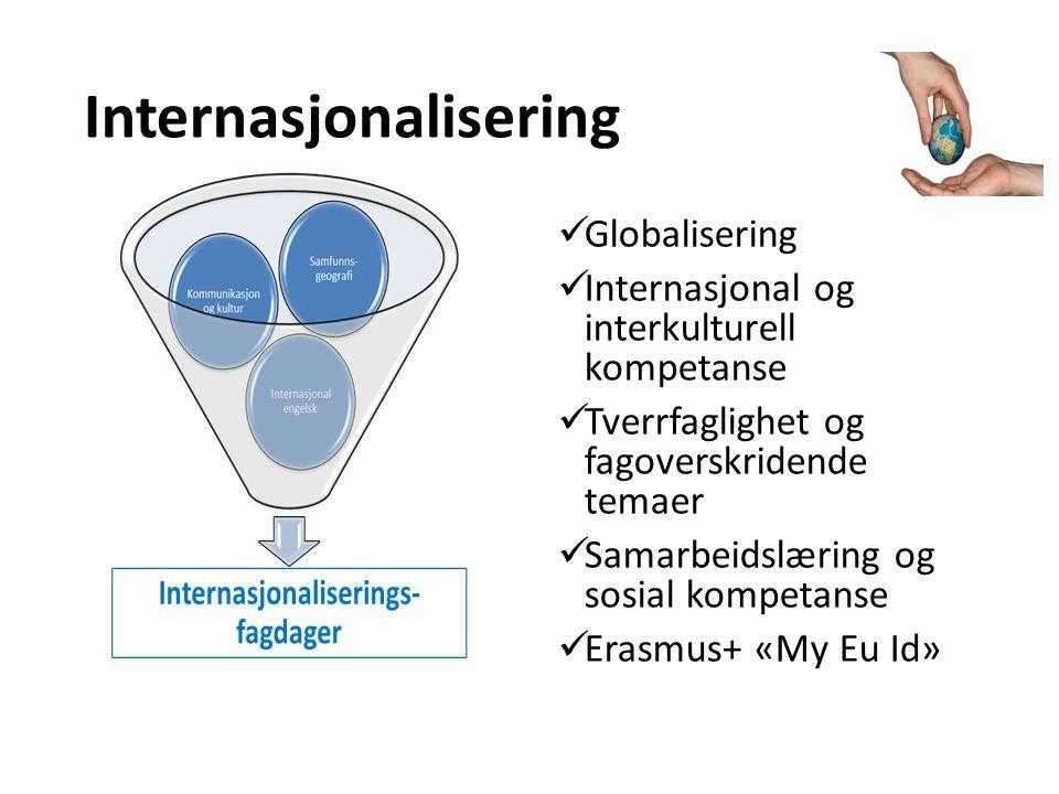 Internasjonalisering Globalisering Internasjonal og interkulturell kompetanse Tverrfaglighet og fagoverskridende temaer Samarbeidslæring og sosial kompetanse Erasmus+ «My Eu Id»
