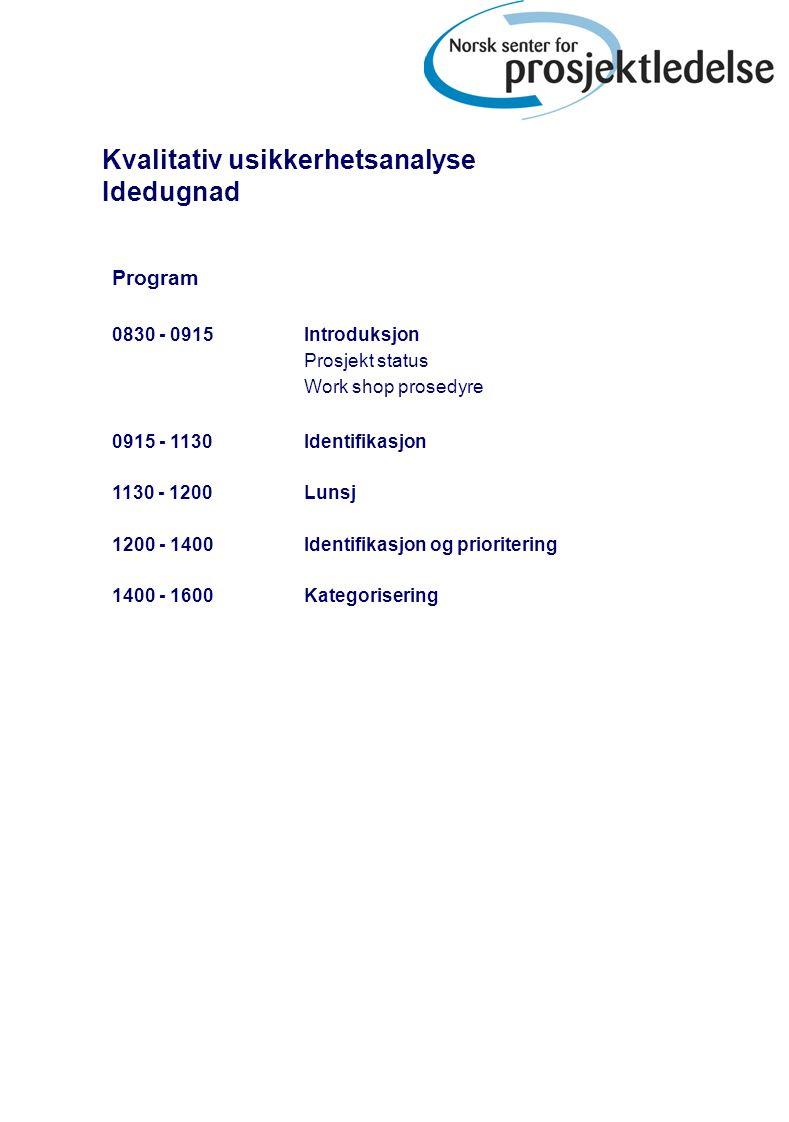Program 0830 - 0915Introduksjon Prosjekt status Work shop prosedyre 0915 - 1130Identifikasjon 1130 - 1200 Lunsj 1200 - 1400Identifikasjon og prioritering 1400 - 1600Kategorisering Kvalitativ usikkerhetsanalyse Idedugnad