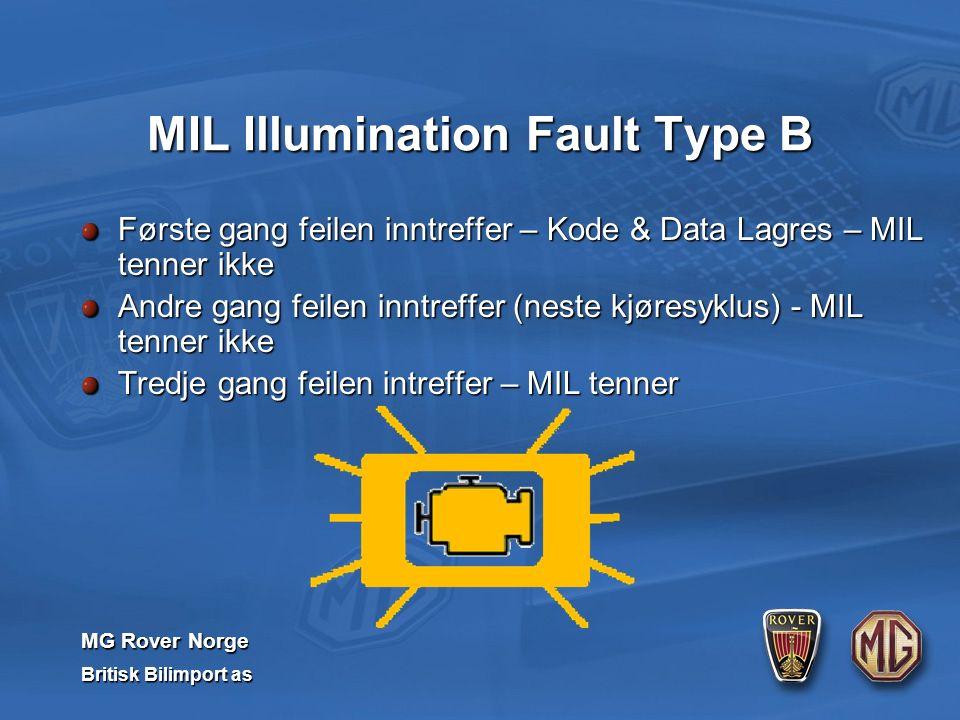 MG Rover Norge Britisk Bilimport as Første gang feilen inntreffer – Kode & Data Lagres – MIL tenner ikke Andre gang feilen inntreffer (neste kjøresyklus) - MIL tenner ikke Tredje gang feilen intreffer – MIL tenner MIL Illumination Fault Type B