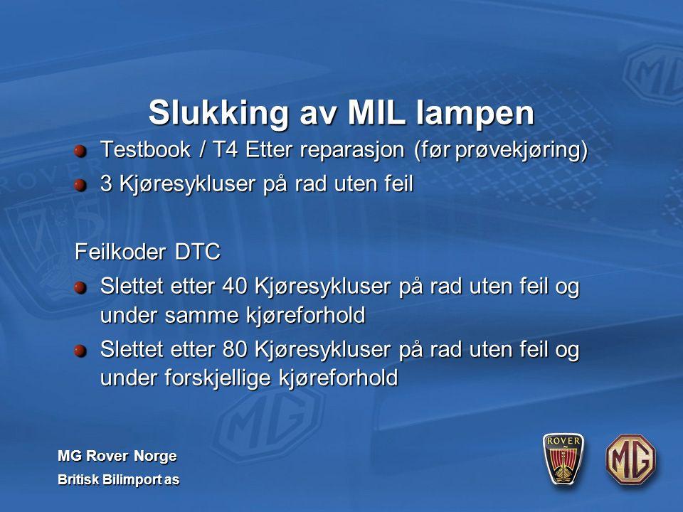 MG Rover Norge Britisk Bilimport as Slukking av MIL lampen Testbook / T4 Etter reparasjon (før prøvekjøring) 3 Kjøresykluser på rad uten feil Feilkoder DTC Slettet etter 40 Kjøresykluser på rad uten feil og under samme kjøreforhold Slettet etter 80 Kjøresykluser på rad uten feil og under forskjellige kjøreforhold