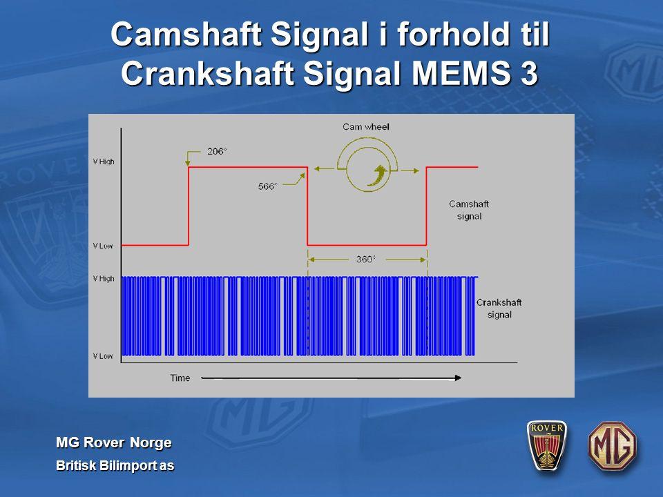 MG Rover Norge Britisk Bilimport as Camshaft Signal i forhold til Crankshaft Signal MEMS 3