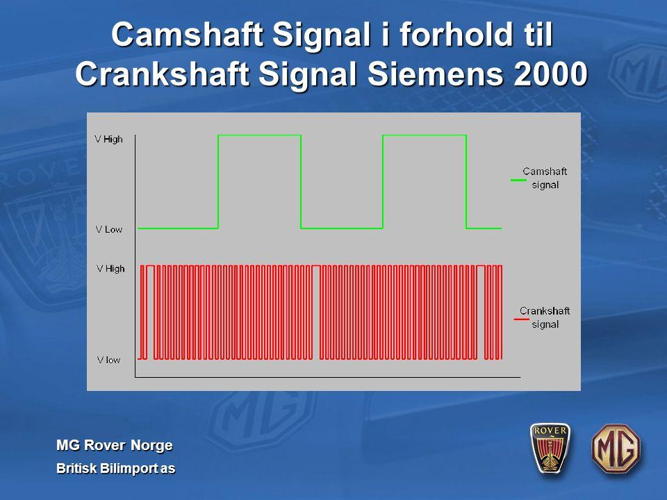 MG Rover Norge Britisk Bilimport as Camshaft Signal i forhold til Crankshaft Signal Siemens 2000