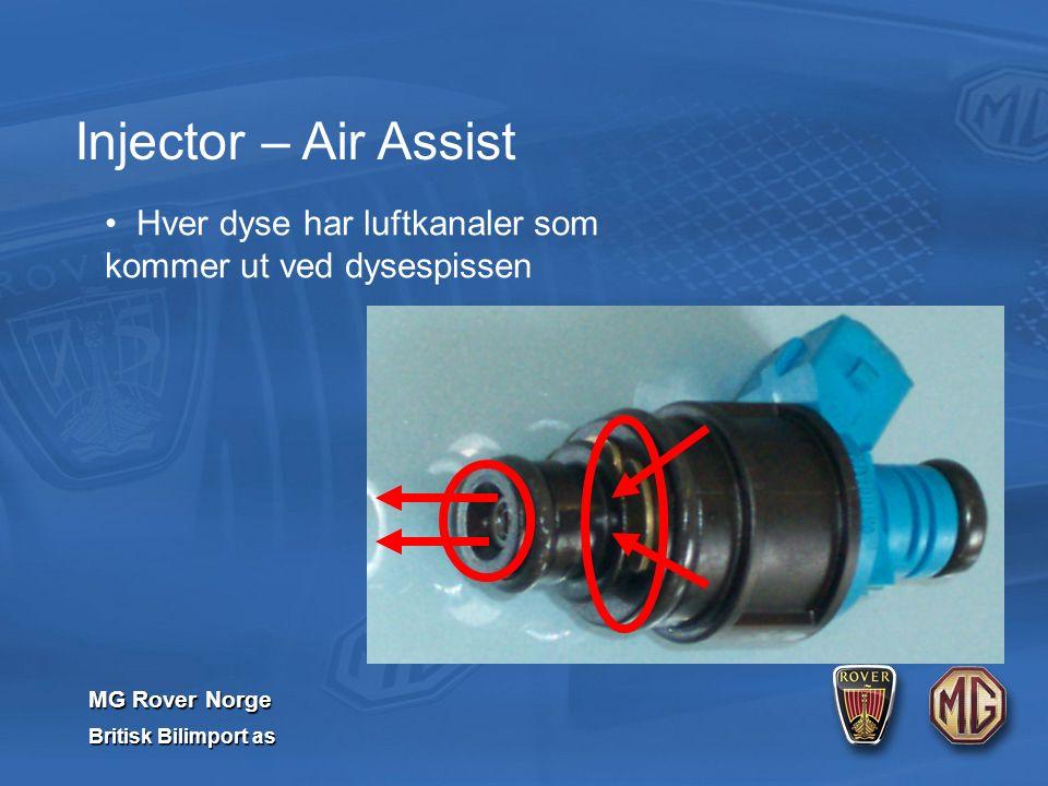 MG Rover Norge Britisk Bilimport as Injector – Air Assist Hver dyse har luftkanaler som kommer ut ved dysespissen