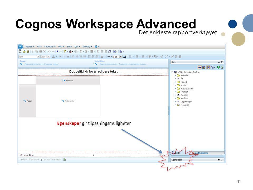 11 Cognos Workspace Advanced Det enkleste rapportverktøyet Egenskaper gir tilpasningsmuligheter