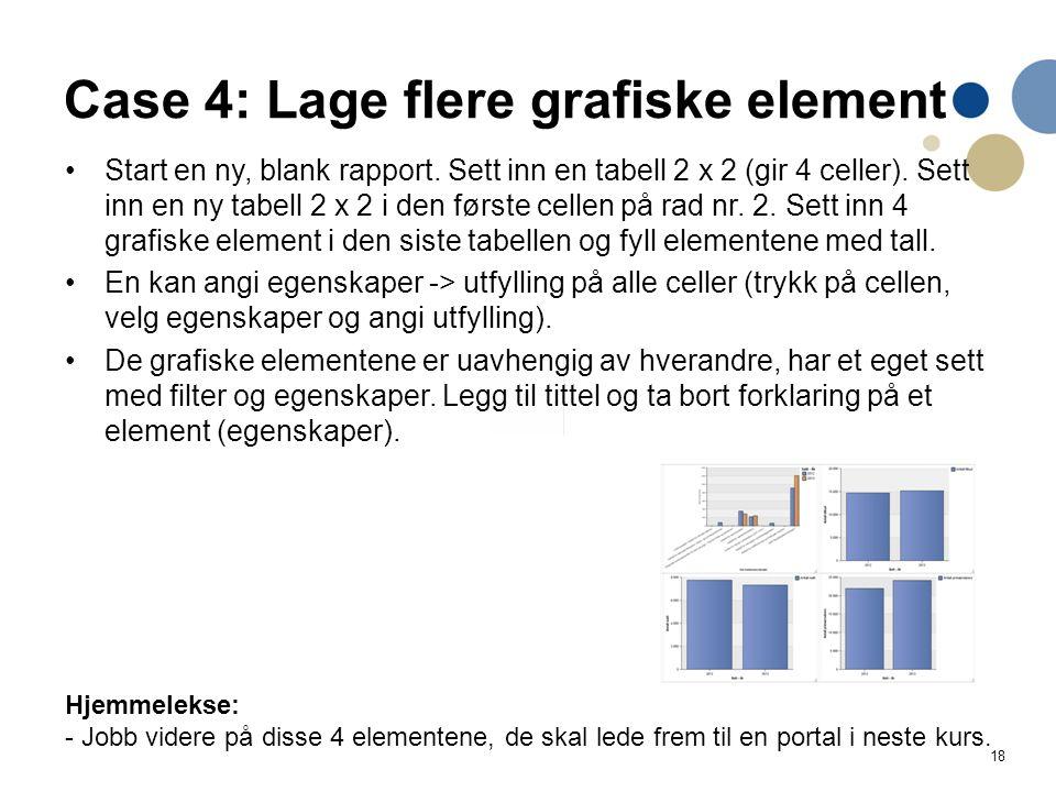 18 Case 4: Lage flere grafiske element Start en ny, blank rapport. Sett inn en tabell 2 x 2 (gir 4 celler). Sett inn en ny tabell 2 x 2 i den første c