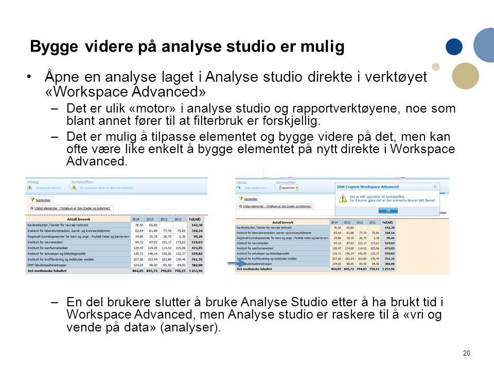 20 Bygge videre på analyse studio er mulig Åpne en analyse laget i Analyse studio direkte i verktøyet «Workspace Advanced» –Det er ulik «motor» i anal