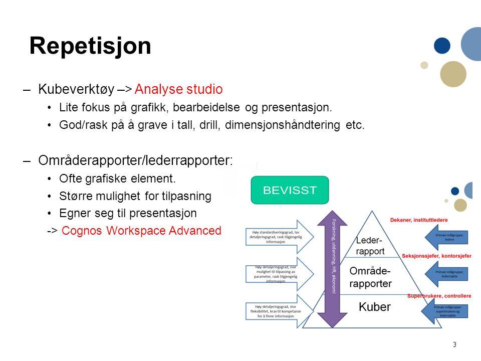 3 Repetisjon –Kubeverktøy –> Analyse studio Lite fokus på grafikk, bearbeidelse og presentasjon. God/rask på å grave i tall, drill, dimensjonshåndteri