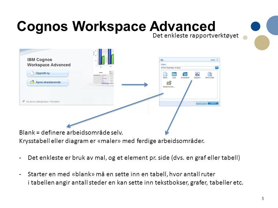 5 Cognos Workspace Advanced Det enkleste rapportverktøyet Blank = definere arbeidsområde selv. Krysstabell eller diagram er «maler» med ferdige arbeid