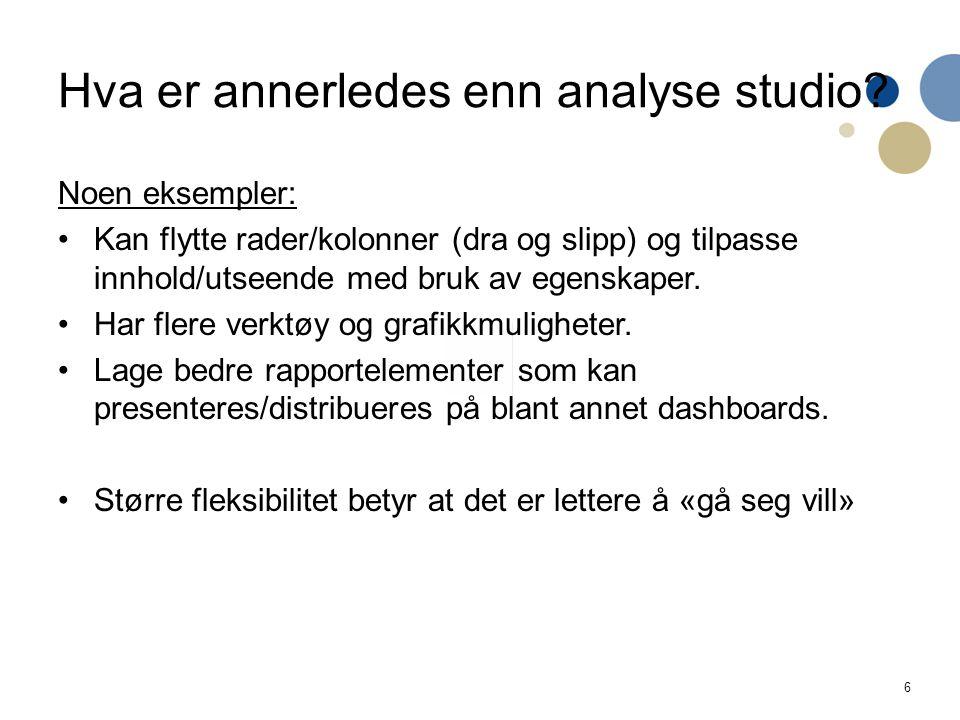 6 Hva er annerledes enn analyse studio.