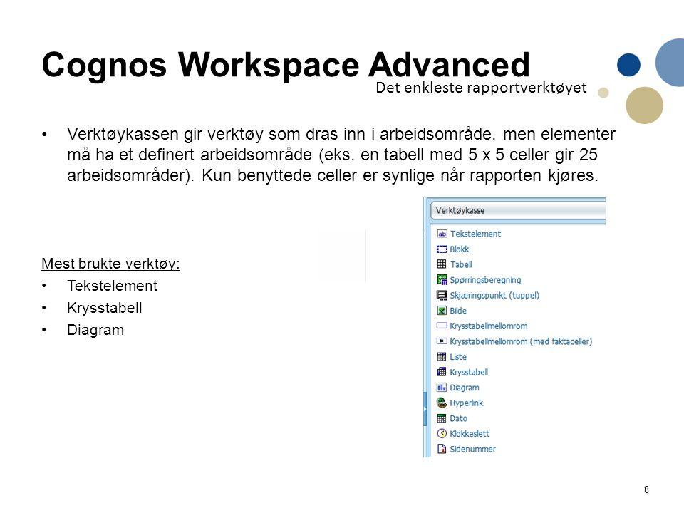 9 Cognos Workspace Advanced Det enkleste rapportverktøyet Krysstabell = kubeanalyse (Rad, kolonne, filter og måltall som i Analyse Studio)