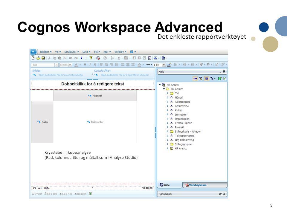 20 Bygge videre på analyse studio er mulig Åpne en analyse laget i Analyse studio direkte i verktøyet «Workspace Advanced» –Det er ulik «motor» i analyse studio og rapportverktøyene, noe som blant annet fører til at filterbruk er forskjellig.
