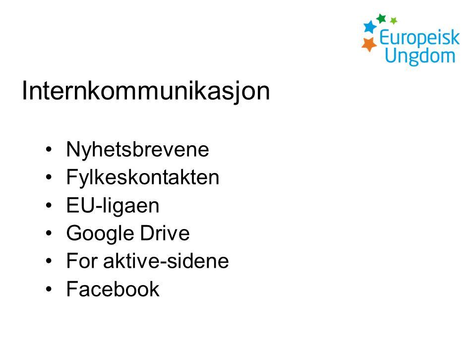 Internkommunikasjon Nyhetsbrevene Fylkeskontakten EU-ligaen Google Drive For aktive-sidene Facebook