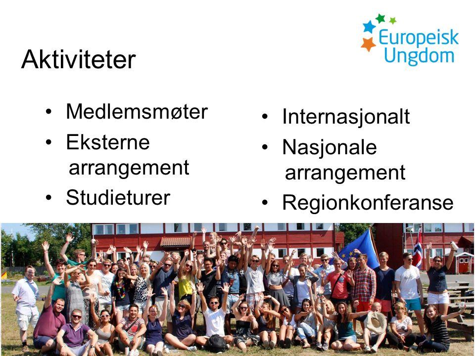 Aktiviteter Medlemsmøter Eksterne arrangement Studieturer Internasjonalt Nasjonale arrangement Regionkonferanse