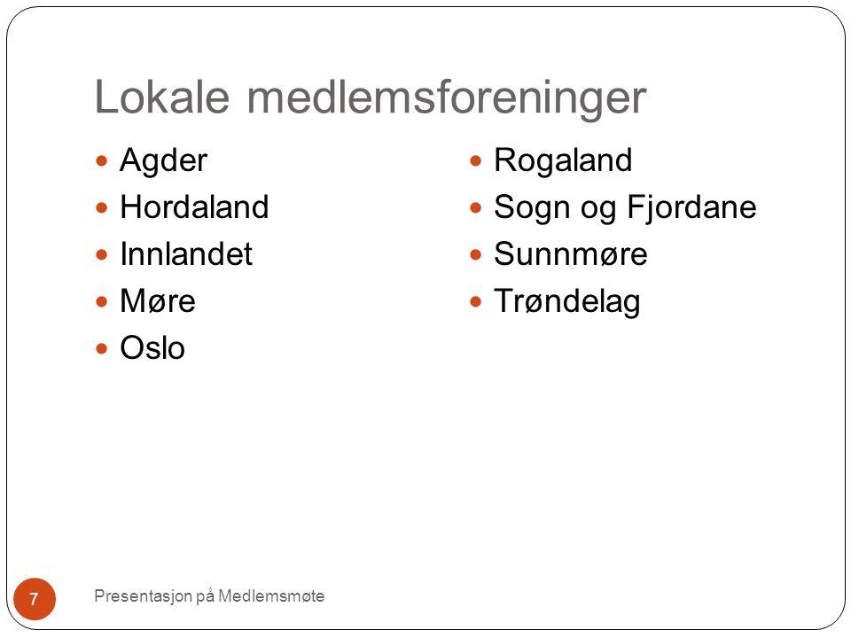 Lokale medlemsforeninger Presentasjon på Medlemsmøte 7 Agder Hordaland Innlandet Møre Oslo Rogaland Sogn og Fjordane Sunnmøre Trøndelag