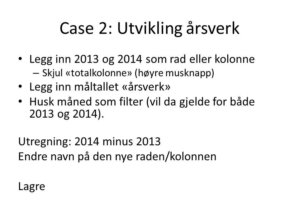 Case 2: Utvikling årsverk Legg inn 2013 og 2014 som rad eller kolonne – Skjul «totalkolonne» (høyre musknapp) Legg inn måltallet «årsverk» Husk måned som filter (vil da gjelde for både 2013 og 2014).