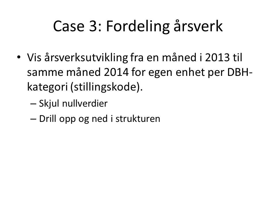 Case 3: Fordeling årsverk Vis årsverksutvikling fra en måned i 2013 til samme måned 2014 for egen enhet per DBH- kategori (stillingskode).