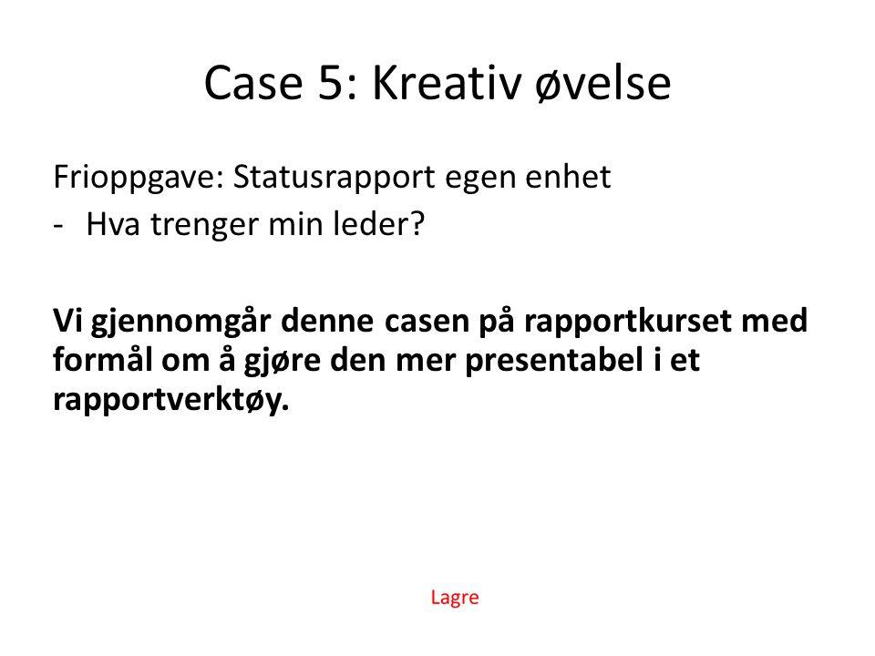 Case 5: Kreativ øvelse Frioppgave: Statusrapport egen enhet -Hva trenger min leder.