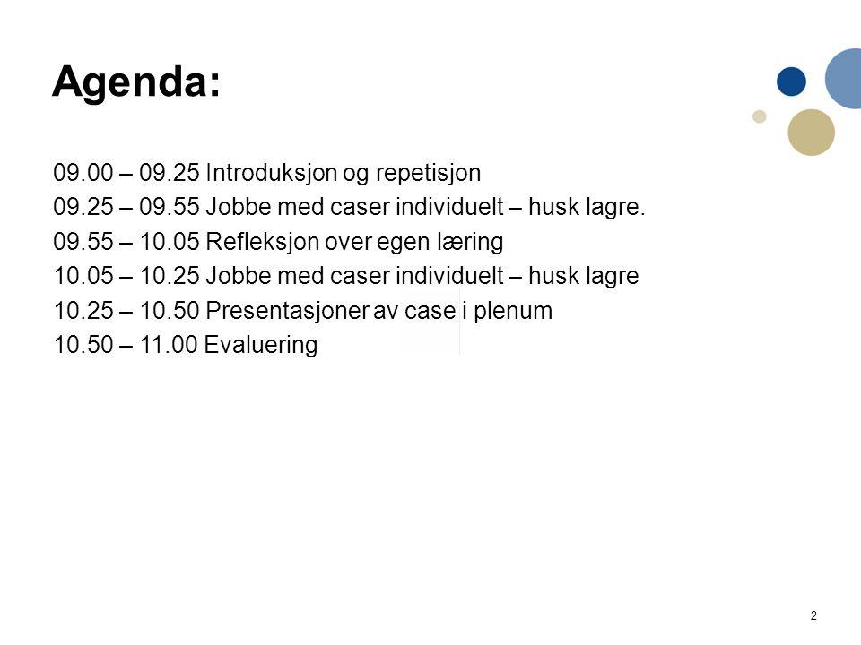 2 09.00 – 09.25 Introduksjon og repetisjon 09.25 – 09.55 Jobbe med caser individuelt – husk lagre.