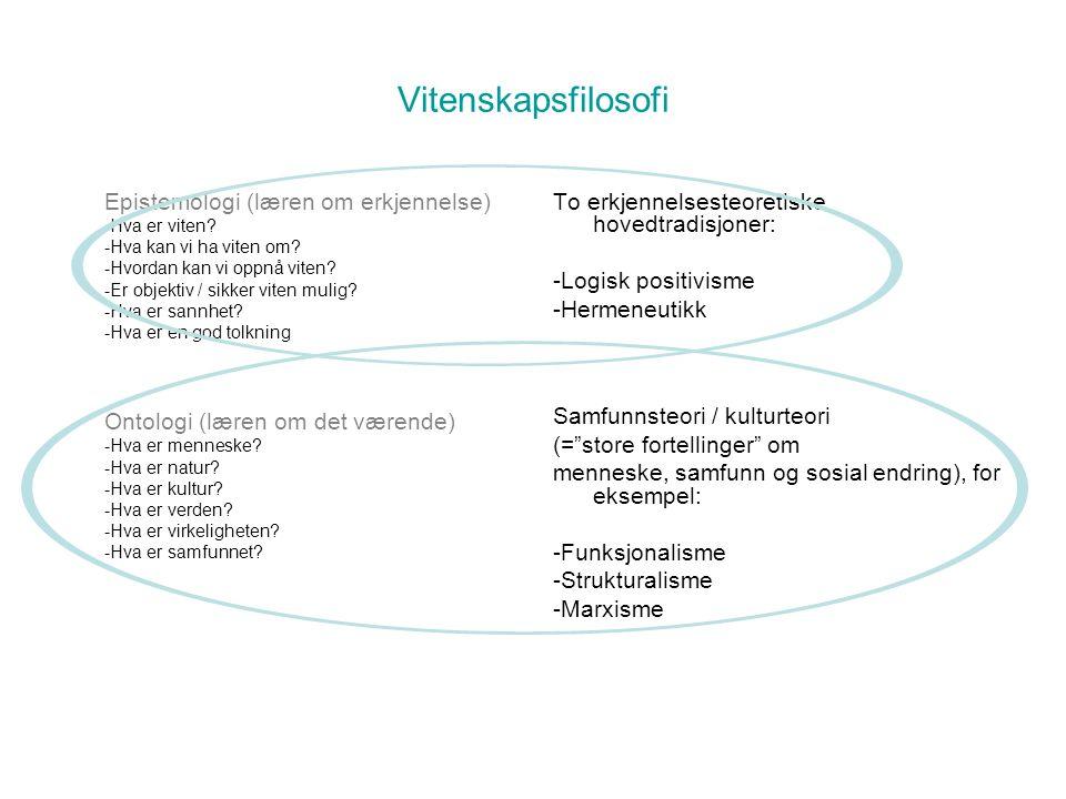 Vitenskapsfilosofi Epistemologi (læren om erkjennelse) -Hva er viten.