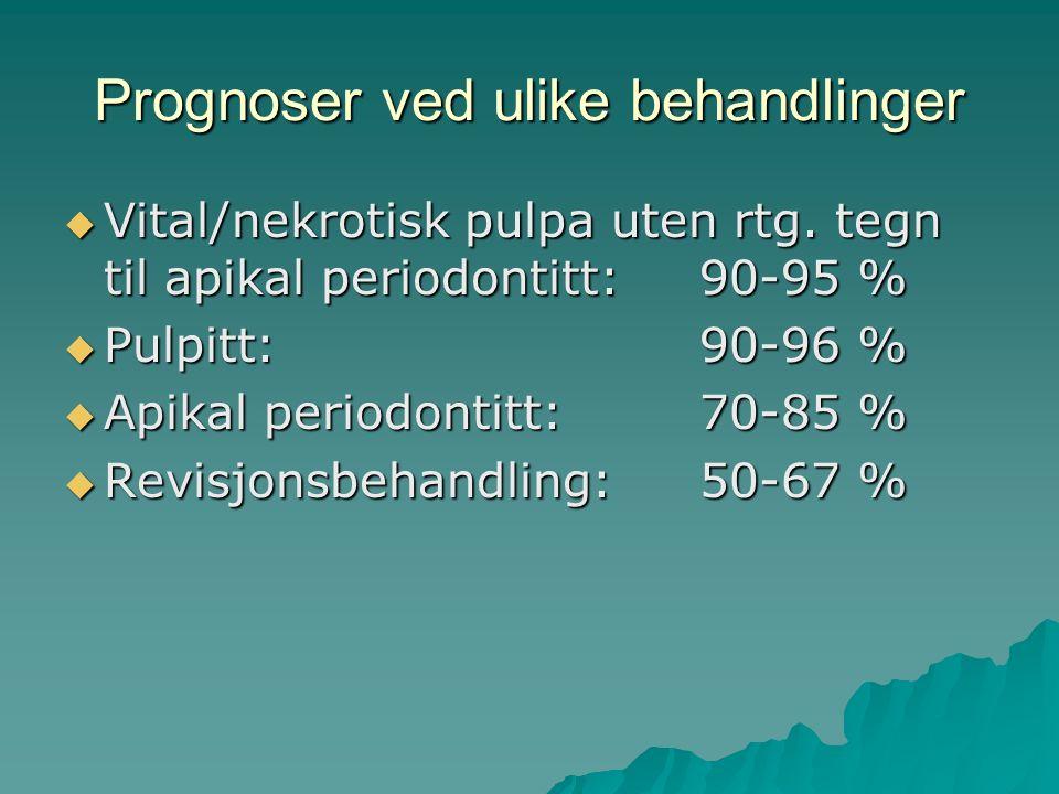 Behandlingsplanlegging Viktig å vurdere:  Prognosen for den endodontiske behandlingen  Prognosen for periodontiet  Prognosen for gjenoppbygging av tannen