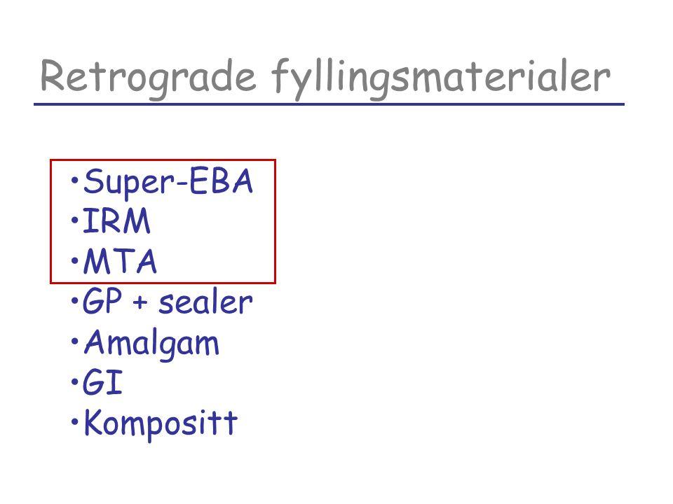 Retrograde fyllingsmaterialer Super-EBA IRM MTA GP + sealer Amalgam GI Kompositt